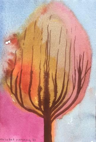 Bilde av Tre nr. 164 av Elisabet Norseng med ramme